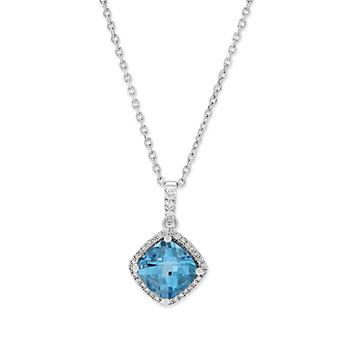 14K White Gold Blue Topaz and Diamond Pendant