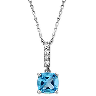 14K White Gold Cushion Blue Topaz and Diamond Pendant