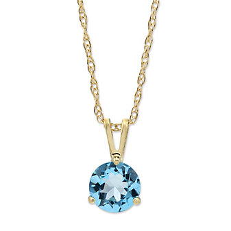 14K Yellow Gold Blue Topaz Solitaire Pendant, 6mm
