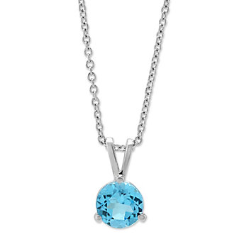 14K White Gold Blue Topaz Pendant, 6mm