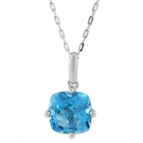 14K_White_Gold_Cushion_Blue_Topaz_Pendant