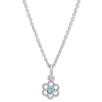 "Sterling Silver Child's Blue Topaz Flower Pendant, 15"""