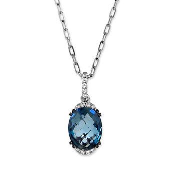 14K White Gold Oval Blue Topaz and Round Diamond Pendant