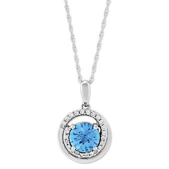 14K White Gold Blue Topaz and Diamond Swirl Pendant