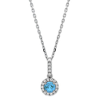 14K White Gold Blue Topaz & Diamond Halo Pendant