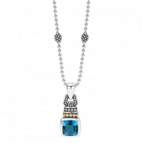 Lagos_Sterling_Silver_&_18K_Yellow_Gold_Color_Caviar_Blue_Topaz_Penant