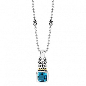 Lagos Sterling Silver & 18K Yellow Gold Color Caviar Blue Topaz Penant