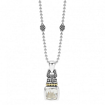 Lagos Sterling Silver & 18K Yellow Gold Color Caviar White Topaz Pendant