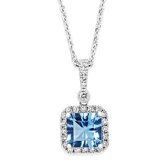 14K White Gold Cushion Blue Topaz and Round Diamond Halo Pendant, 18""