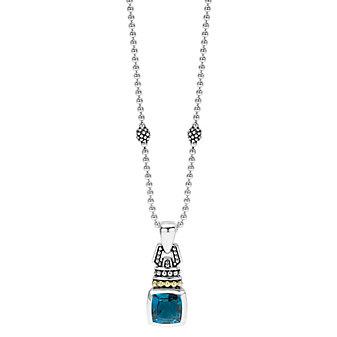 Lagos Blue Topaz Drop Pendant Necklace