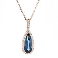 14k_rose_gold_pear_shaped_checkerboard_blue_topaz_&_diamond_pendant
