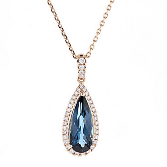 14k rose gold pear shaped checkerboard blue topaz & diamond pendant
