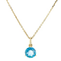 """14k_yellow_gold_round_blue_topaz_solitaire_pendant,_18"""""""