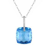 "14k_white_gold_checkerboard_cushion_blue_topaz_&_diamond_bail_pendant,_16"""