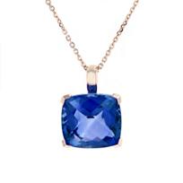 "14k_rose_gold_checkerboard_cushion_deep_blue_topaz_pendant,_18"""