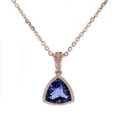 "14k rose gold checkerboard deep blue topaz & diamond milgrain bezel pendant, 18"""