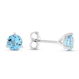 14K Blue Topaz Stud Earrings