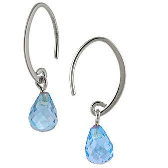 14K Blue Topaz Drop Earrings
