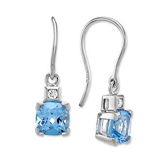 14K White Gold Cushion Blue Topaz and Round Diamond Drop Earrings