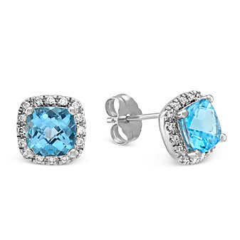 14K White Gold Checkerboard Cushion Blue Topaz and Round Diamond Earrings