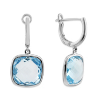 14K_White_Gold_Cushion_Checkerboard_Blue_Topaz_Drop_Earrings