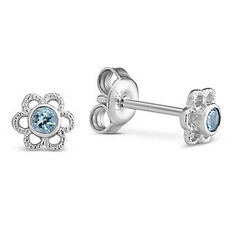 Sterling Silver Child's Blue Topaz Flower Earrings