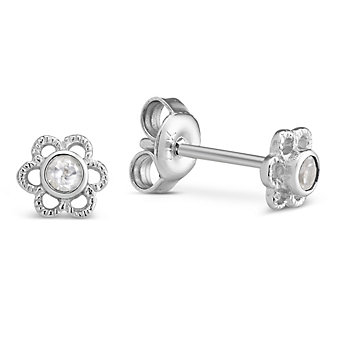 Sterling Silver Child's White Topaz Flower Earrings