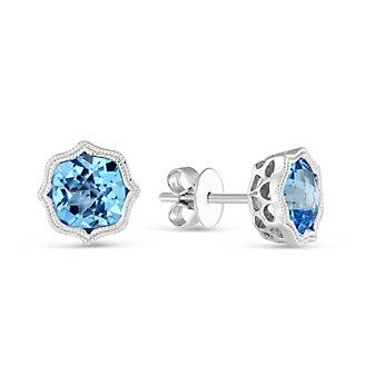 14K White Gold Swiss Blue Topaz Earrings with Double Milgrain
