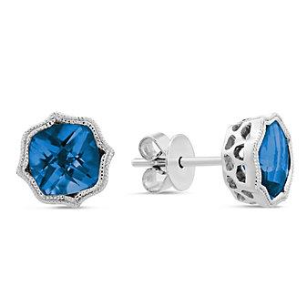 14K White Gold London Blue Topaz Earrings with Double Milgrain Edge
