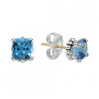 Lagos Sterling Silver Checkerboard Blue Topaz Stud Earrings With 14K Yellow Gold Posts