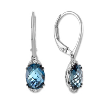 14K_White_Gold_Checkerboard_Oval_Blue_Topaz_and_Round_Diamond_Drop_Earrings