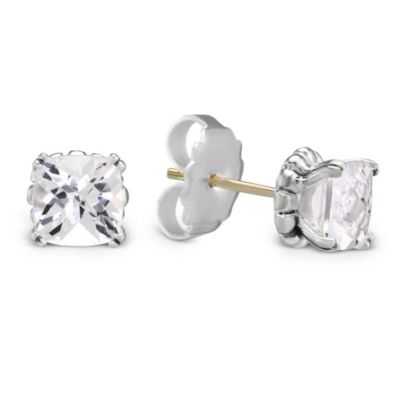 Lagos Sterling Silver & White Topaz Gemstone Stud Prism Earrings