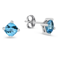 14K_White_Gold_Buff_Top_Blue_Topaz_Earrings