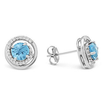 14K White Gold Blue Topaz & Round Diamond Swirl Earrings