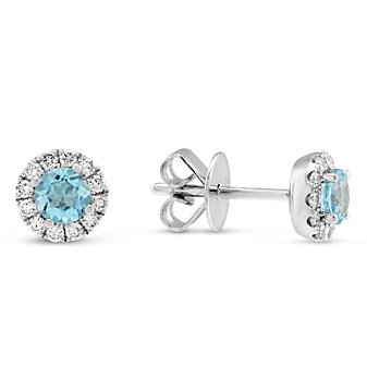 14K White Gold Blue Topaz and Diamond Halo Earrings