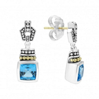 Lagos_Sterling_Silver_&_18K_Yellow_Gold_Color_Caviar_Blue_Topaz_Earrings