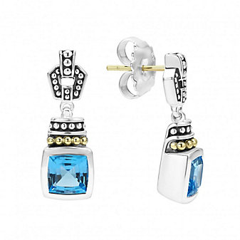 Lagos Sterling Silver & 18K Yellow Gold Color Caviar Blue Topaz Earrings