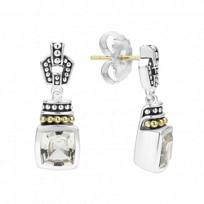 Lagos_Sterling_Silver_&_18K_Yellow_Gold_Color_Caviar_White_Topaz_Earrings