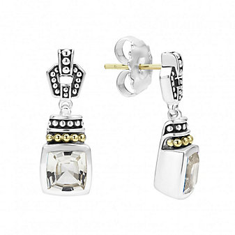 Lagos Sterling Silver & 18K Yellow Gold Color Caviar White Topaz Earrings