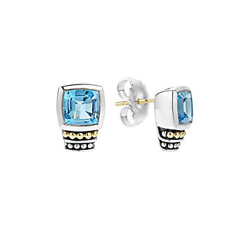 Lagos Sterling Silver & 18K Yellow Gold Blue Topaz Caviar Color Gemstone Stud Earrings