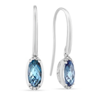 14K_White_Gold_Checkerboard_Oval_Dark_Blue_Topaz_and_Diamond_Drop_Earrings
