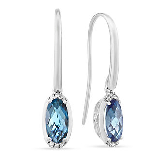 14K White Gold Checkerboard Oval Dark Blue Topaz and Diamond Drop Earrings