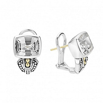 Lagos Sterling Silver & 18K Yellow Gold Caviar Color White Topaz Short Earrings