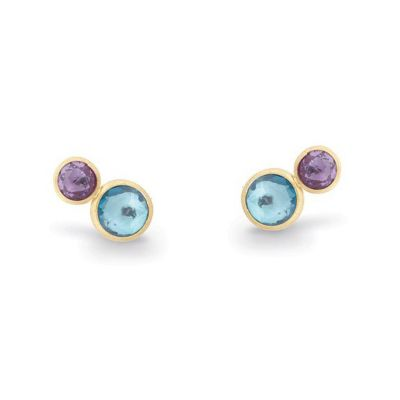 Marco Bicego 18K Yellow Gold Round Amethyst & Blue Topaz Jaipur Stud Earrings