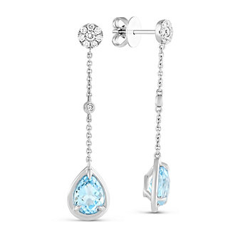14K White Gold Blue Topaz and Round Diamond Drop Earrings