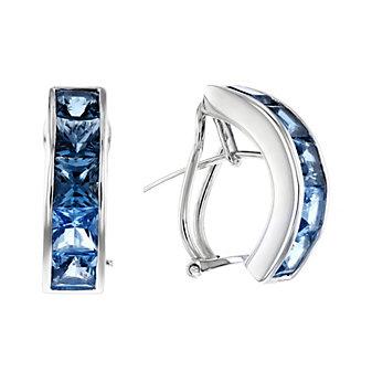 14k white gold square blue topaz huggy half hoop earrings