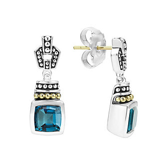 Lagos Sterling Silver, 18K & 14K Yellow Gold, and Blue Topaz Drop Earrings