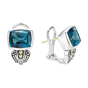 Lagos Blue Topaz bezel-set Gemstone Earrings