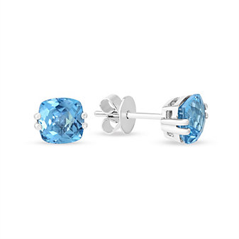 14K White Gold Checkerboard Cushion Blue Topaz Earrings