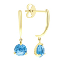 14k_yellow_gold_round_checkerboard_blue_topaz_dangle_earrings